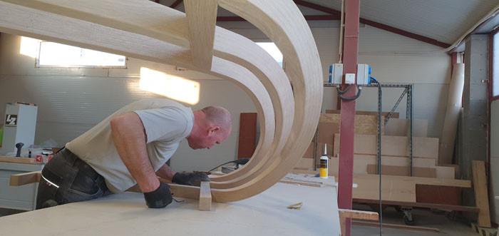 tölgyfa korlát hajlított fából - életnagyságú makett építés